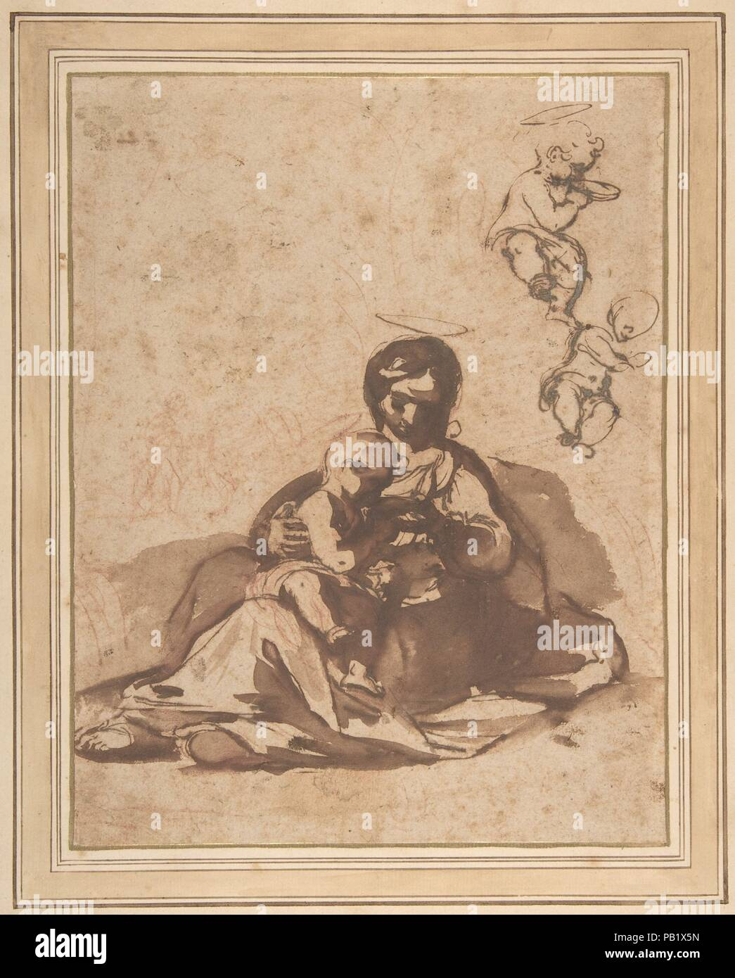 Studies for a Rest on the Flight into Egypt. Artist: Rutilio Manetti (Italian, Siena 1570-1639 Siena). Dimensions: 9 7/16 x 7 1/4in. (23.9 x 18.4cm). Date: 1571-1639.  In this robust drawing for his painting now in the Gamäldegalerie of Kassel, Germany, Manetti portrayed the Madonna as a humble down-to-earth mother, giving her infant son something to drink. Although he came under the spell of Caravaggio's dramatic realism, Manetti was at first the pupil of Francesco Vanni (1563-1610), whose fantastically delicate, airborne Virgin Mary is seen at right. Listed by Claus Virch in his catalogue of - Stock Image