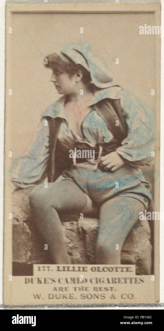"""Card Number 177, Lillie Olcotte, from the Actors and Actresses series (N145-5) issued by Duke Sons & Co. to promote Cameo Cigarettes. Dimensions: Sheet: 2 11/16 × 1 3/8 in. (6.8 × 3.5 cm). Publisher: Issued by W. Duke, Sons & Co. (New York and Durham, N.C.). Date: 1880s.  Trade cards from the set """"Actors and Actresses"""" (N145-5), issued in the 1880s by W. Duke Sons & Co. to promote Cameo Cigarettes. There are eight subsets of the N145 series. Various subsets sport different card designs and also promote different tobacco brands represented by W. Duke Sons & Company. This card is from the fifth  Stock Photo"""