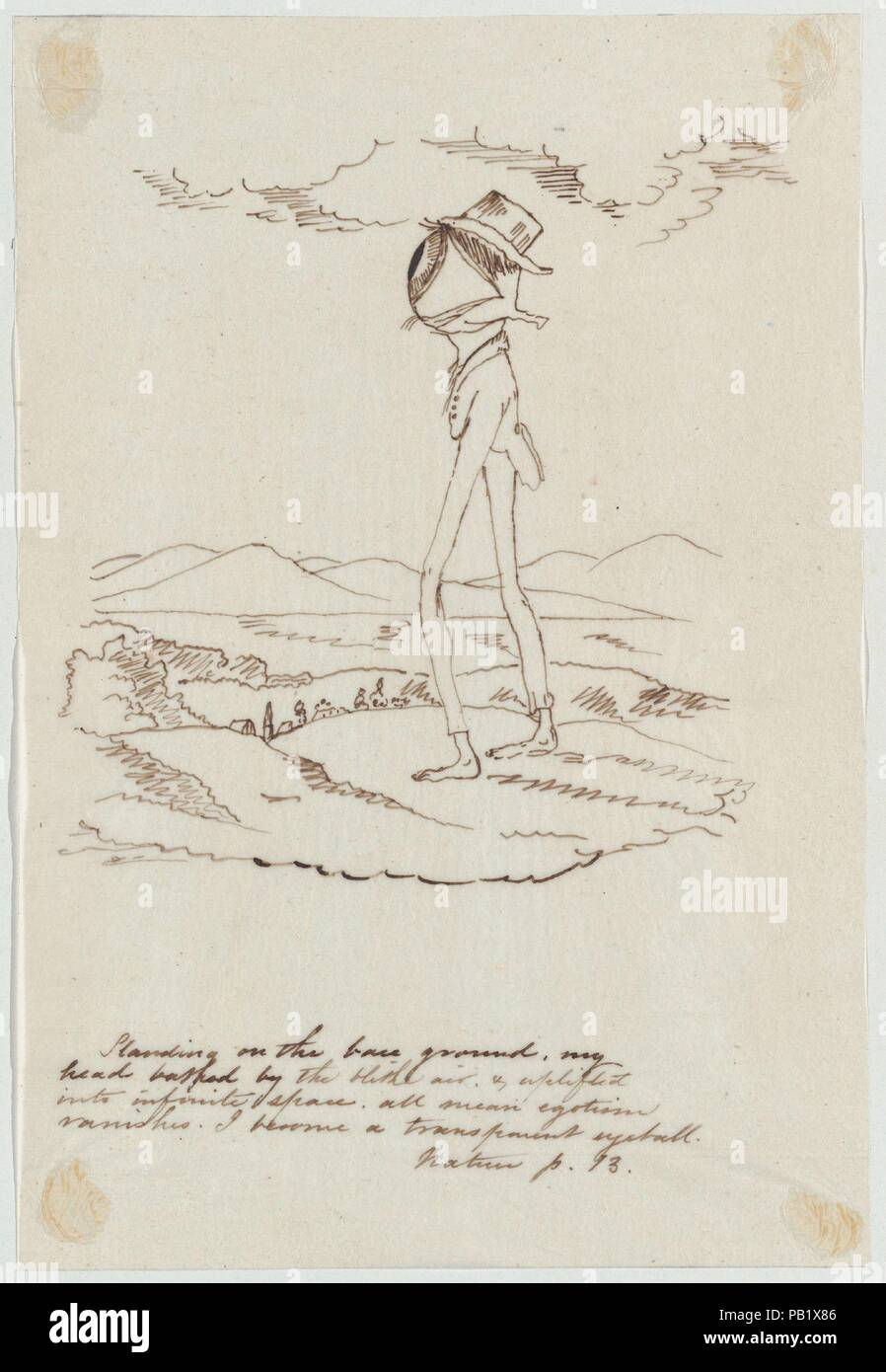 Standing on the Base Ground...I Become a Transparent Eyeball (Illustration for Ralph Waldo Emerson's 'Nature'). Artist: Christopher Pearse Cranch (American, Alexandria, Virginia 1813-1892 Boston, Massachusetts). Dimensions: sheet: 8 3/8 x 5 11/16 in. (21.3 x 14.4 cm). Date: 1830-92. Museum: Metropolitan Museum of Art, New York, USA. - Stock Image