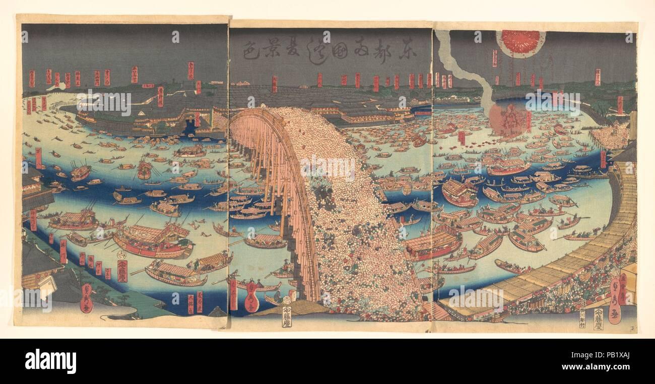 Toto Ryogokubashi natsu keshiki Panoramic View of Ryogoku Bridge in ...