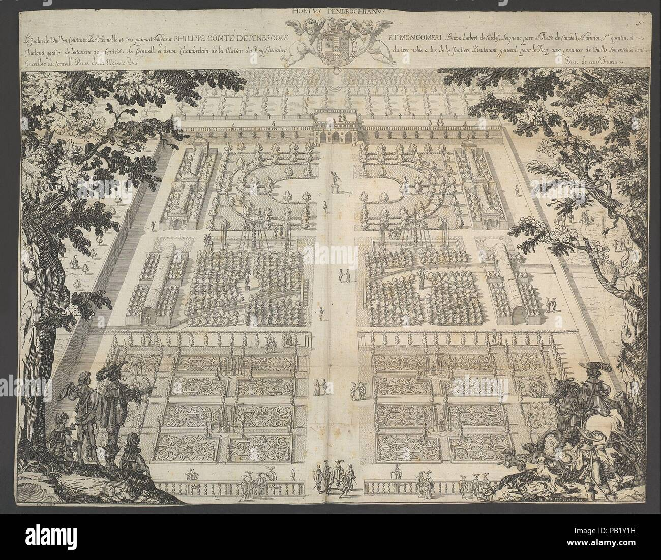 Wilton Garden, plate 1. Designer: Isaac de Caus (British (born France), Dieppe 1590-after 1655). Dimensions: Sheet (unfolded): 16 1/8 × 20 9/16 in. (41 × 52.3 cm). Etcher: Peter Stent (British, active ca. 1615/17-1665). Published in: London. Publisher: Thomas Rowlett (London). Date: ca. 1640.  The garden of Wilton House (Wiltshire), famous today for its eighteenth-century landscape design containing England's first Palladian bridge, was originally laid out in the mid-1630s by the French-born Isaac de Caus (active 1623-55). It was commissioned by Philip Herbert, fourth earl of Pembroke, pivotal - Stock Image
