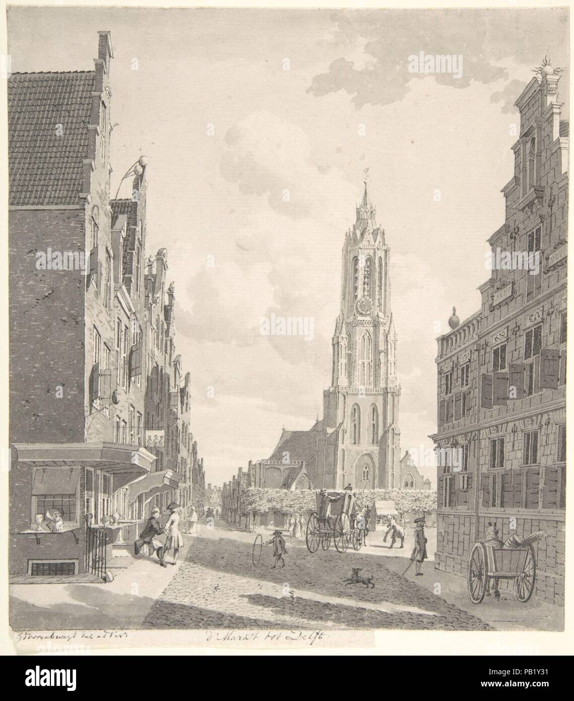 Marketplace of Delft with the Nieuwekerk. Artist: Gerrit Toorenburgh (Dutch, Amsterdam 1732-1785 Nijerk). Dimensions: sheet: 8 3/8 x 7 7/16 in. (21.3 x 18.9 cm). Date: 18th century. Museum: Metropolitan Museum of Art, New York, USA. Stock Photo
