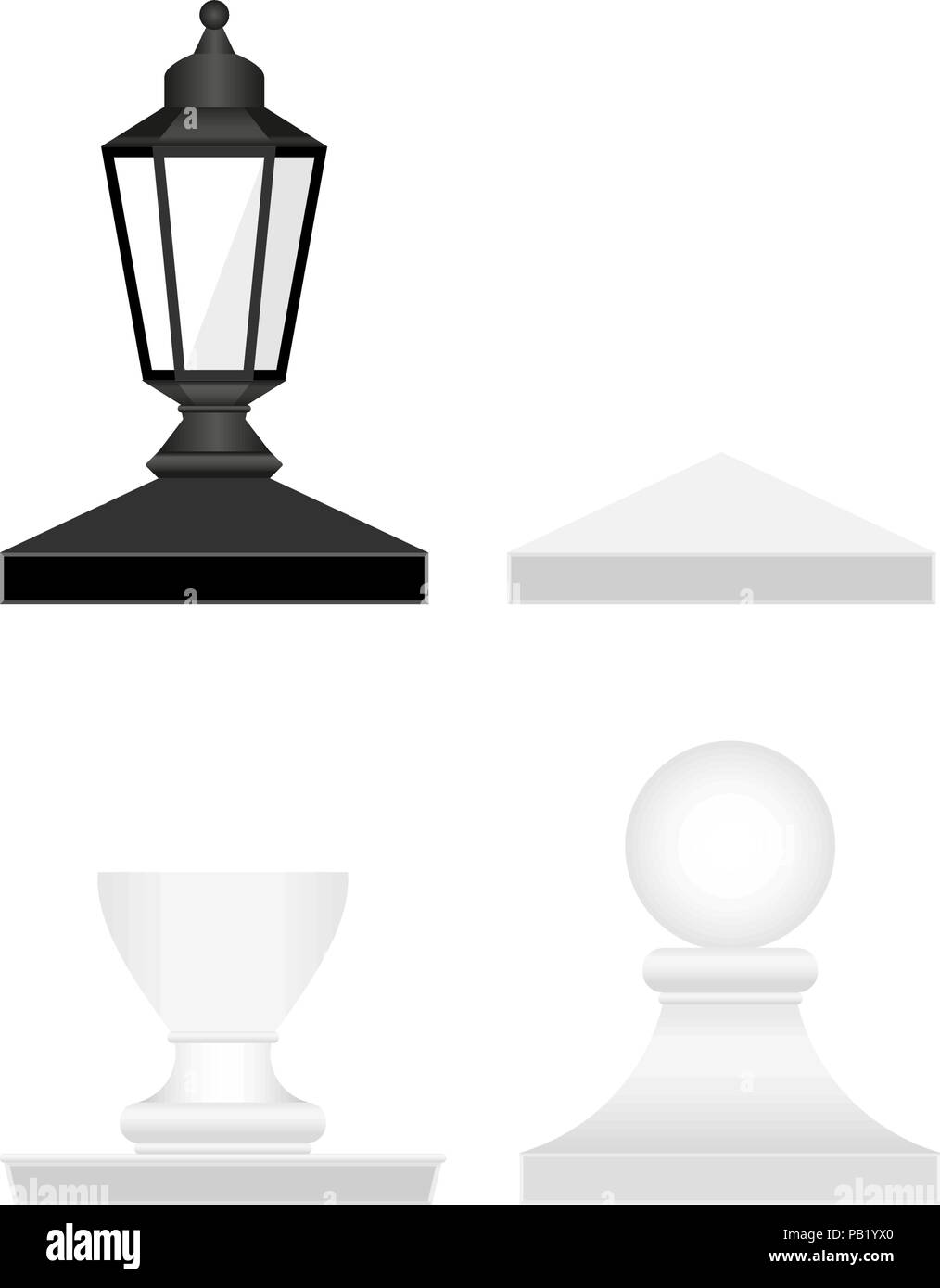 Street Lamp and Fence Posts Tops. Vector Design Elements Set for You Design - Stock Vector