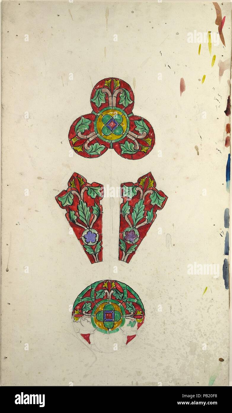 Design for a rose window. Artist: Louis Comfort Tiffany (American, New York 1848-1933 New York). Culture: American. Dimensions: Overall: 14 1/2 x 8 11/16 in. (36.8 x 22 cm). Maker: Possibly Tiffany Glass and Decorating Company (American, 1892-1902); Possibly Tiffany Studios (1902-32); Possibly Tiffany Glass Company (1885-92). Date: late 19th-early 20th century. Museum: Metropolitan Museum of Art, New York, USA. Stock Photo
