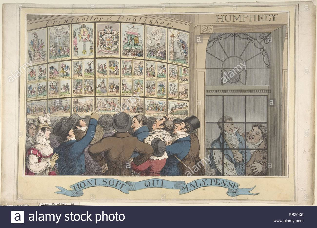 Honi. Soi. Qui. Mal. Y. Pense: The Caricature Shop of G. Humphrey, 27 St. James's Street, London. Artist: Theodore Lane (British, Isleworth ca. 1800-1828 London). Dimensions: plate: 11 13/16 x 16 7/8 in. (30 x 42.8 cm)  sheet: 11 7/8 x 18 9/16 in. (30.2 x 47.2 cm). Publisher: Published London by George Humphrey (British, 1773?-?1831). Date: August 12, 1821.  A crowd of boisterous Londoners is shown inspecting satires critical of Queen Caroline, the estranged wife of the recently crowned King George IV. These are displayed in the bow-front shop window of George Humphrey, a print publisher who i - Stock Image