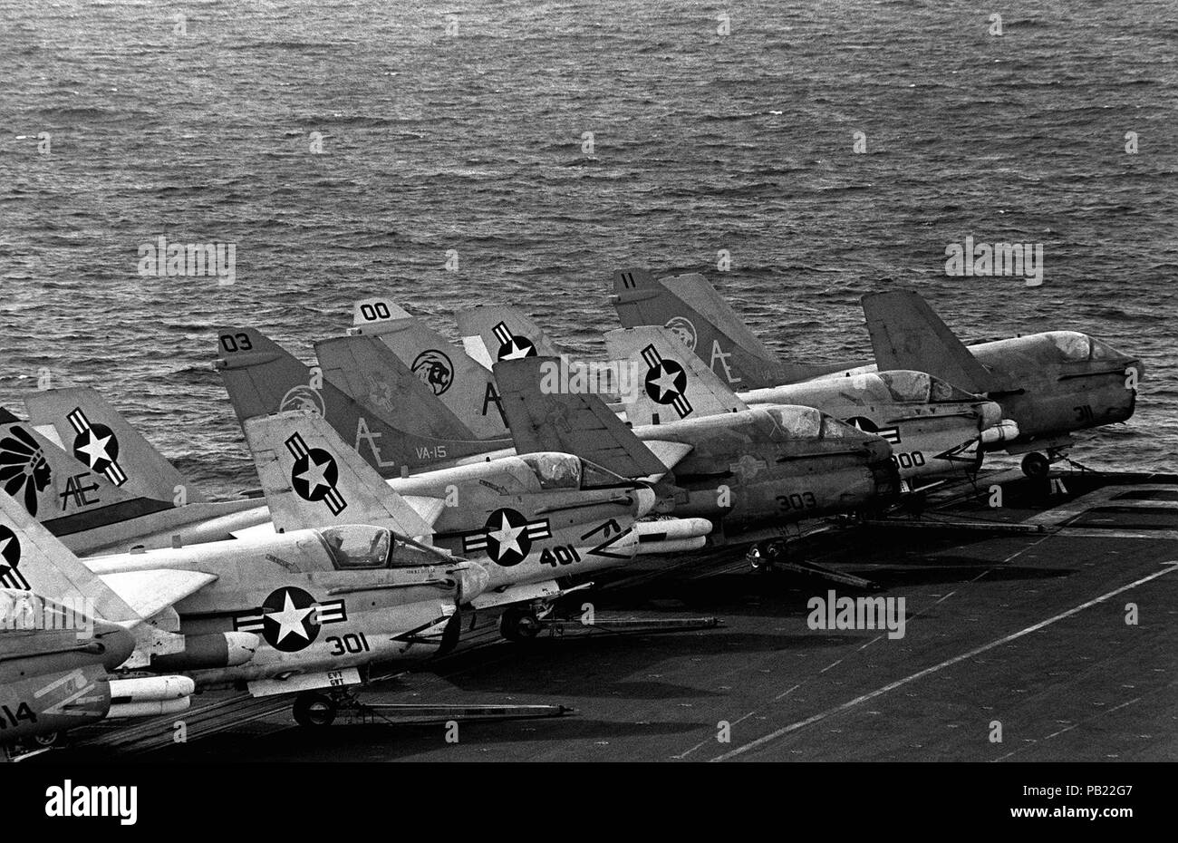A7E CV62 1983  A-7E Corsair II aircraft line the flight deck of the