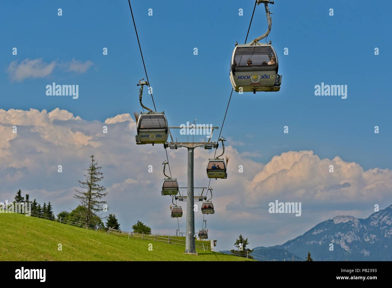 Soell, Tyrol, Austria - June 30, 2018: Gondolas to the Witches Water (Hexenwasser) theme park - Stock Image