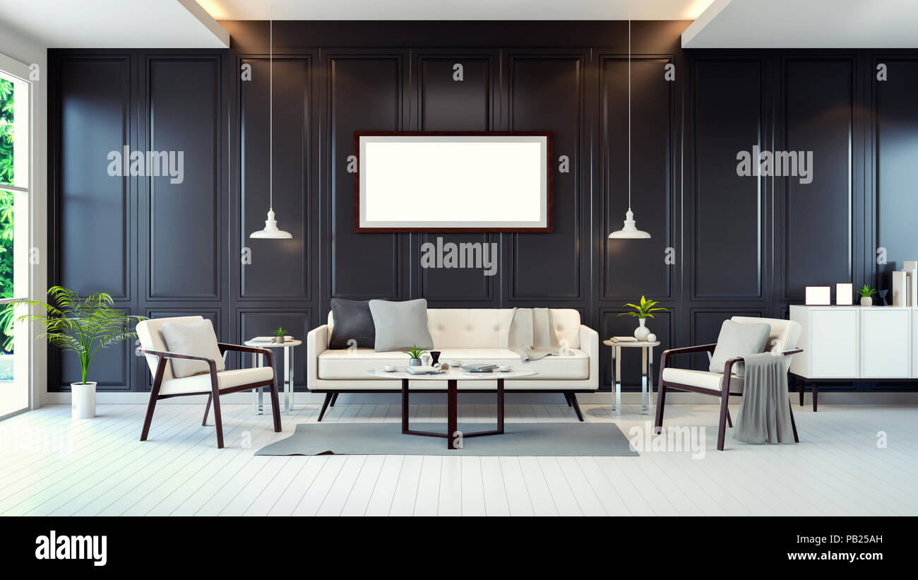 Modern Contemporary Room Interior White Sofa Cabinet Table On White Floor And Black Wall 3d Rendering Stock Photo Alamy