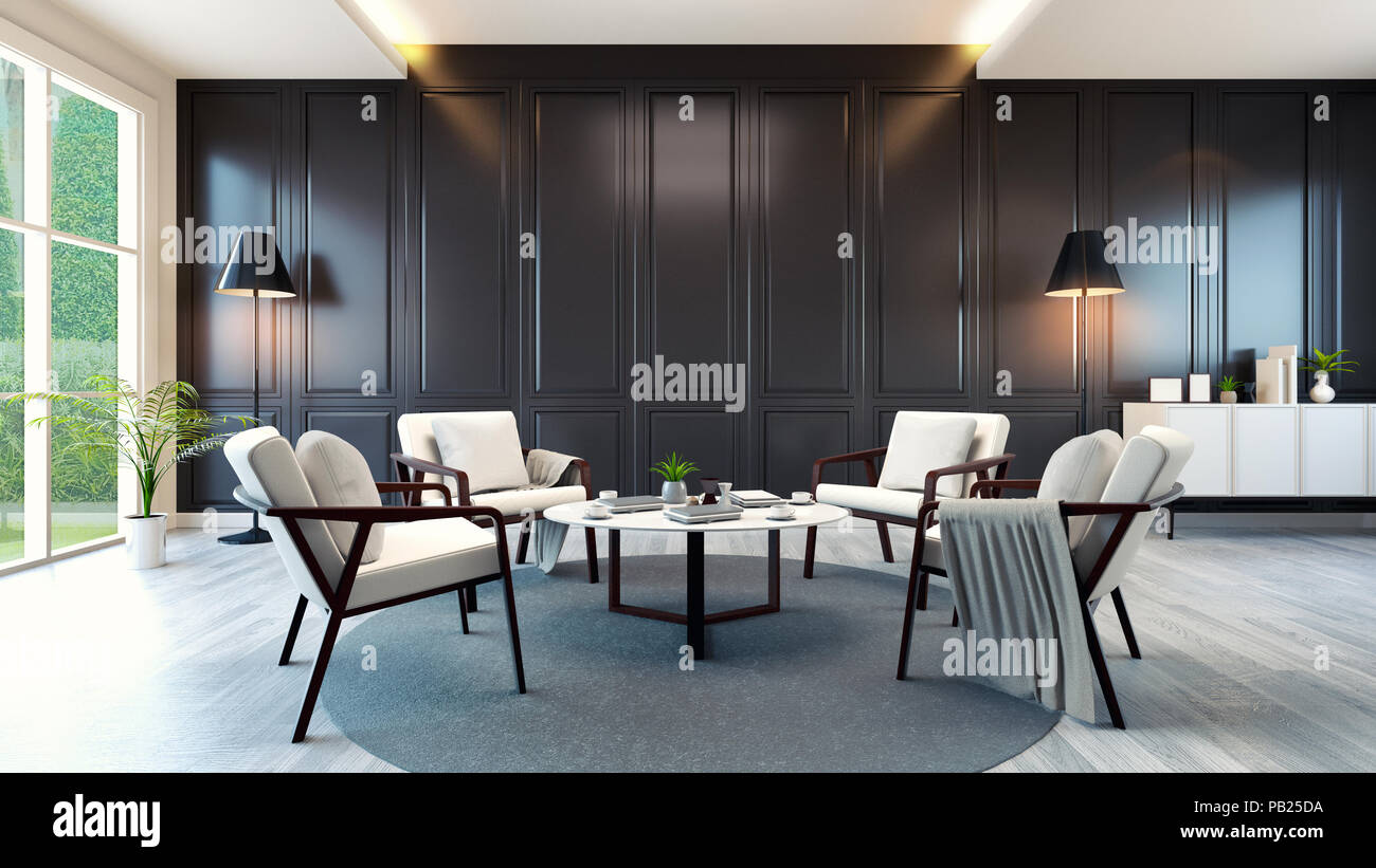 Modern contemporary meeting room interior white armchair and white cabinet and table on wood floor and classic black wall3d rendering
