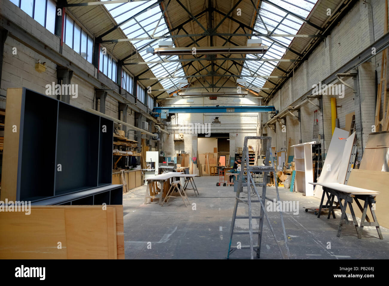 The Old Vic theatre scenery workshop on bristol harbourside as seen on a hot summers day with the door open. - Stock Image