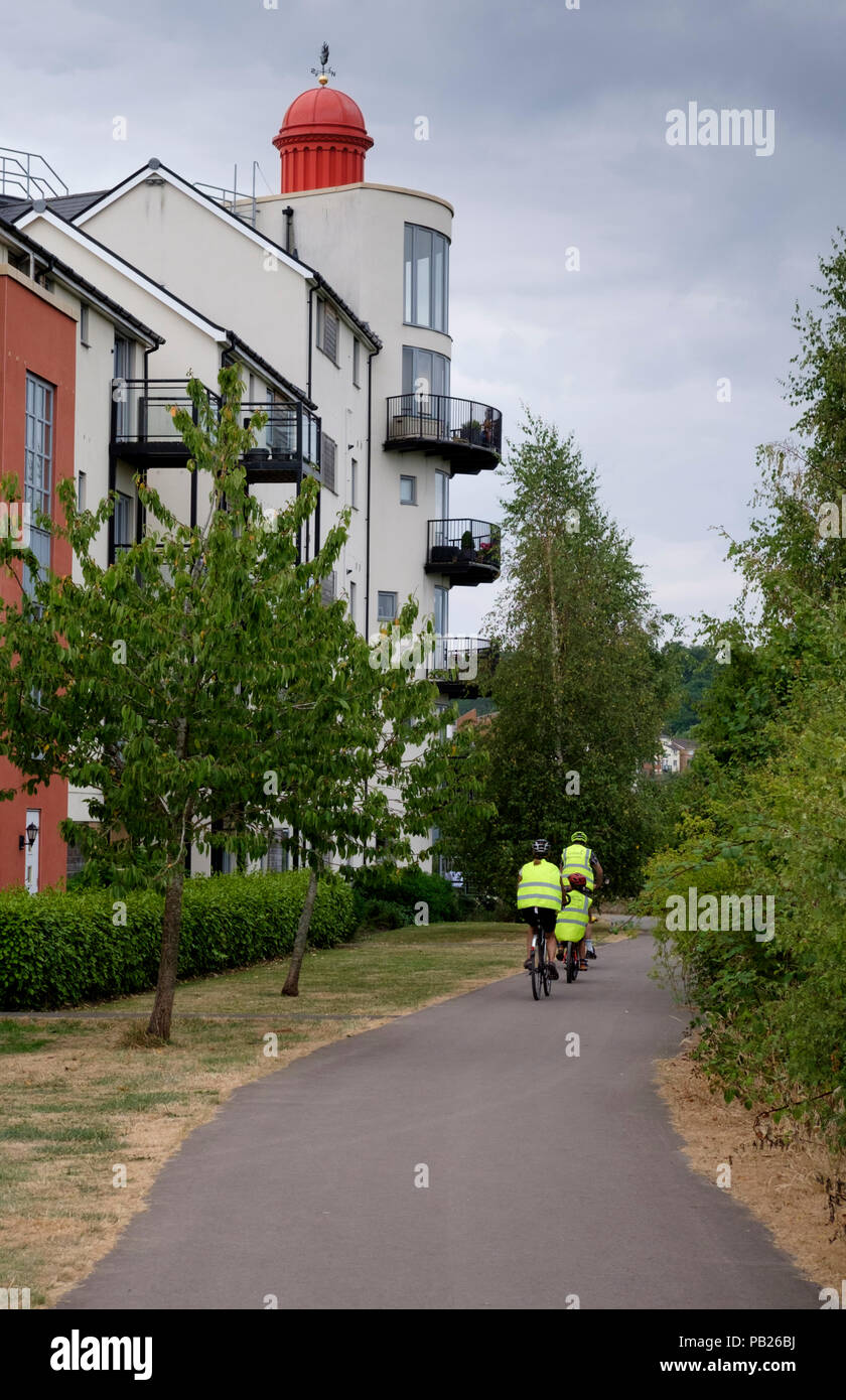 Around Portishead and its marina on the North Somerset coast, England UK  The cycleway - Stock Image
