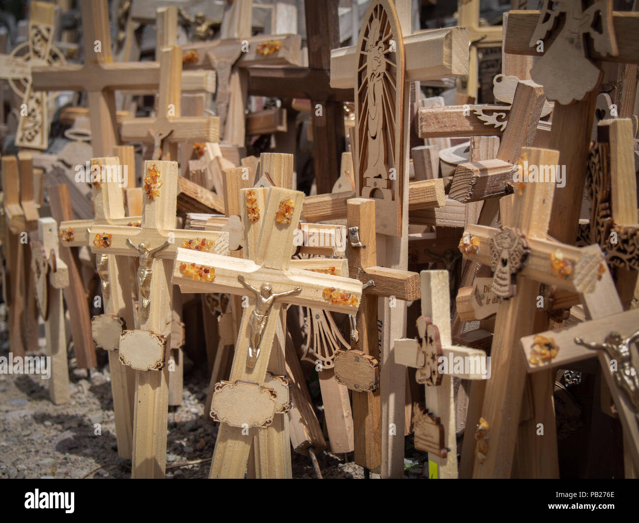 Many wooden crosses in the Hill of Crosses in Lithuania Stock Photo