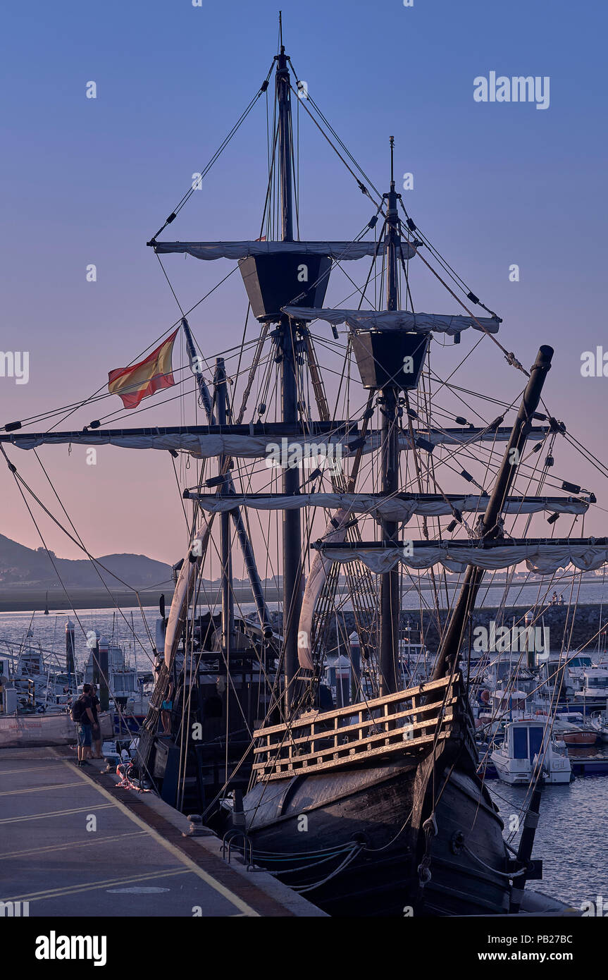 Replica of the nao Victoria, in the 16th century circumnavigated the Earth for the first time. - Stock Image