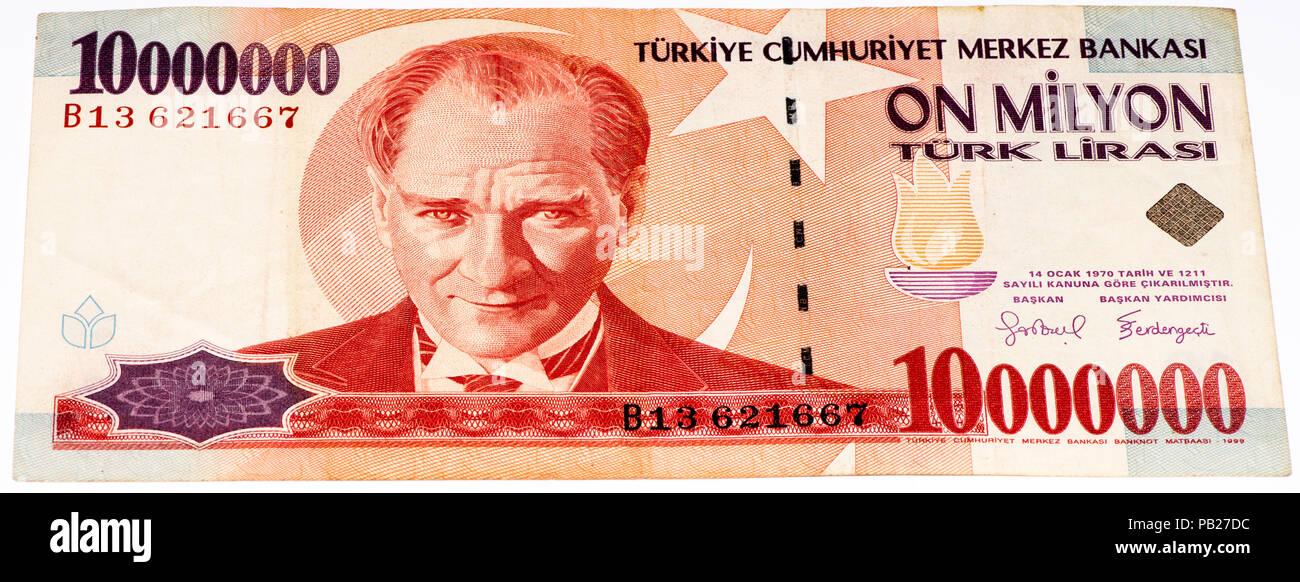 velikie luki russia july 30 2015 10000000 turkish liras bank note