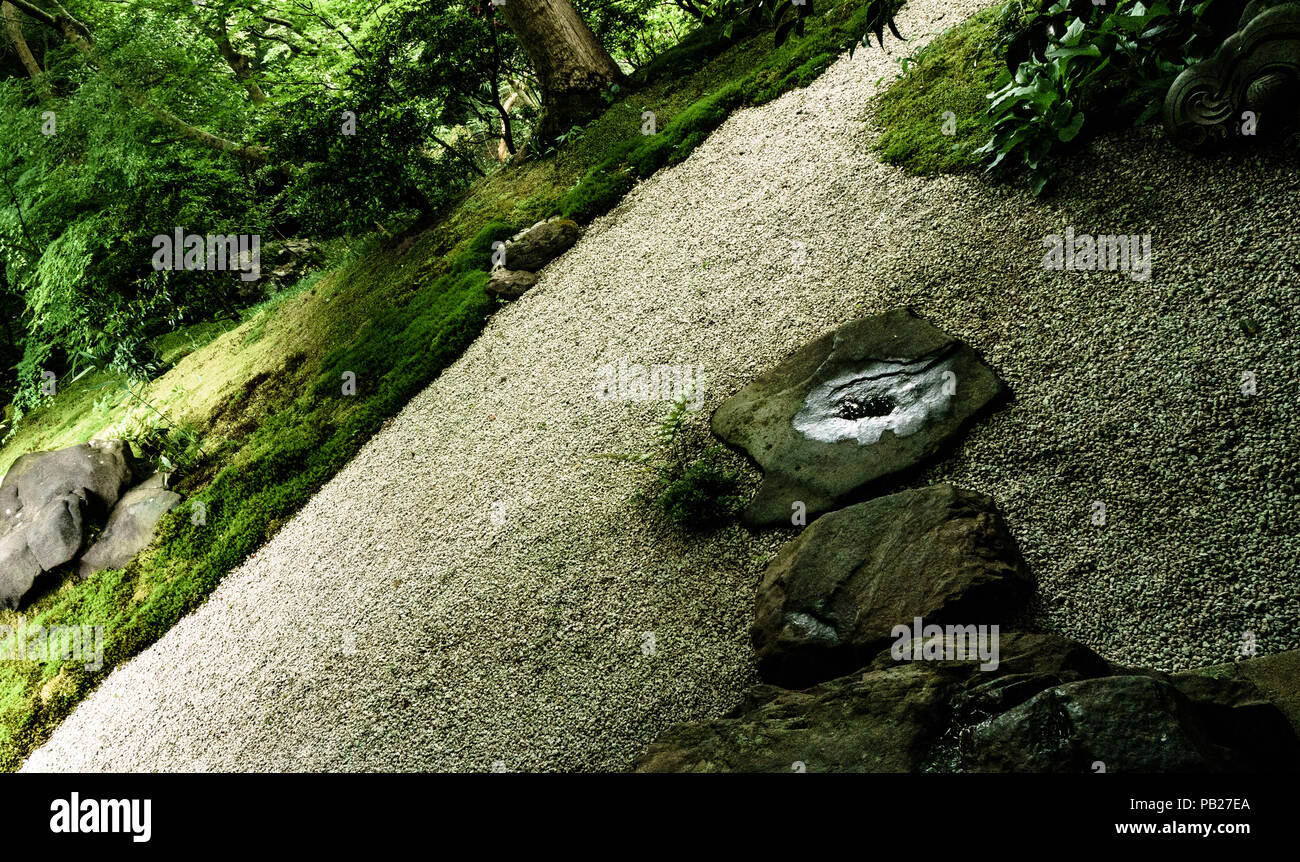 Rurikoin temple in northern Kyoto. Stone path in the Ruri-no-Niwa Garden (the garden of lapis lazuli). - Stock Image