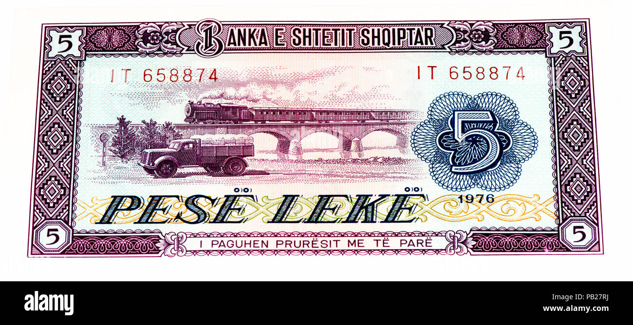 VELIKIE LUKI, RUSSIA - JULY 30, 2015: 5 Albanian lek bank note. Albanian lek is the national currency of Albania - Stock Image