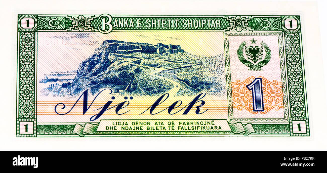 VELIKIE LUKI, RUSSIA - JULY 30, 2015: 1 Albanian lek bank note. Albanian lek is the national currency of Albania - Stock Image