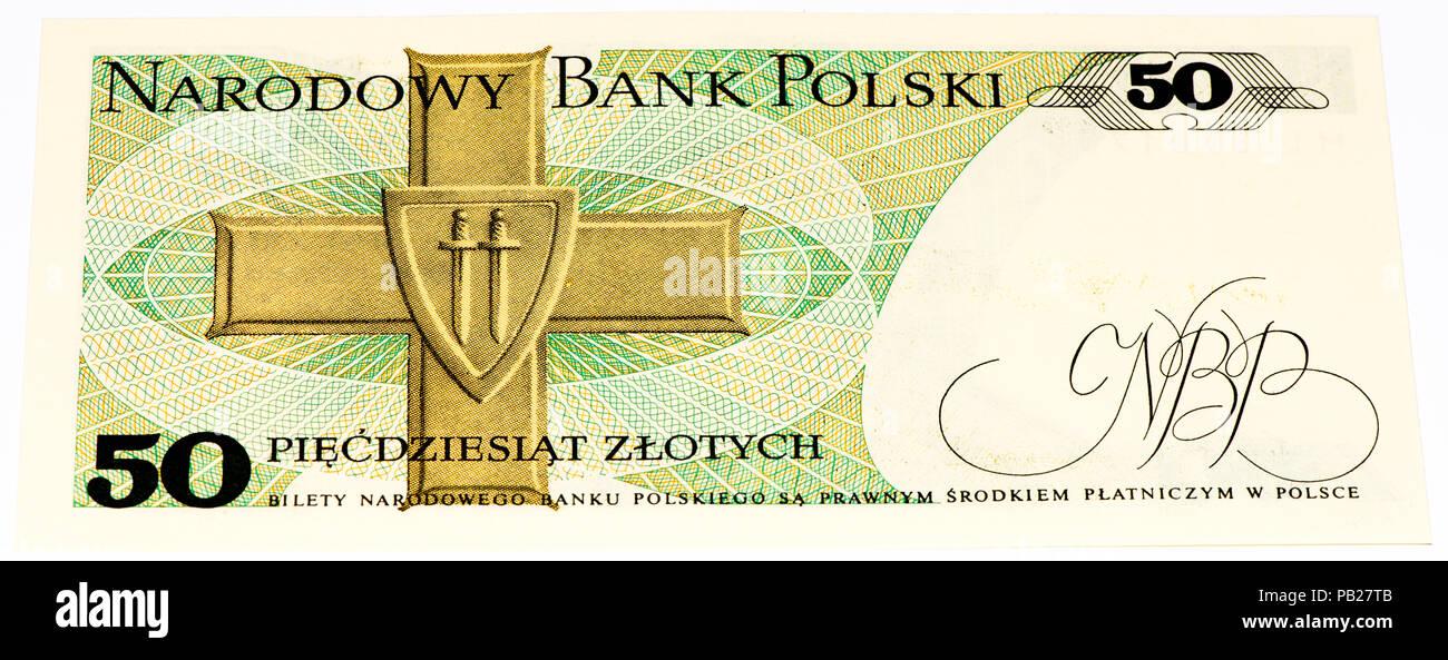 Velikie Luki Russia July 30 2015 50 Polish Zloty Bank Note