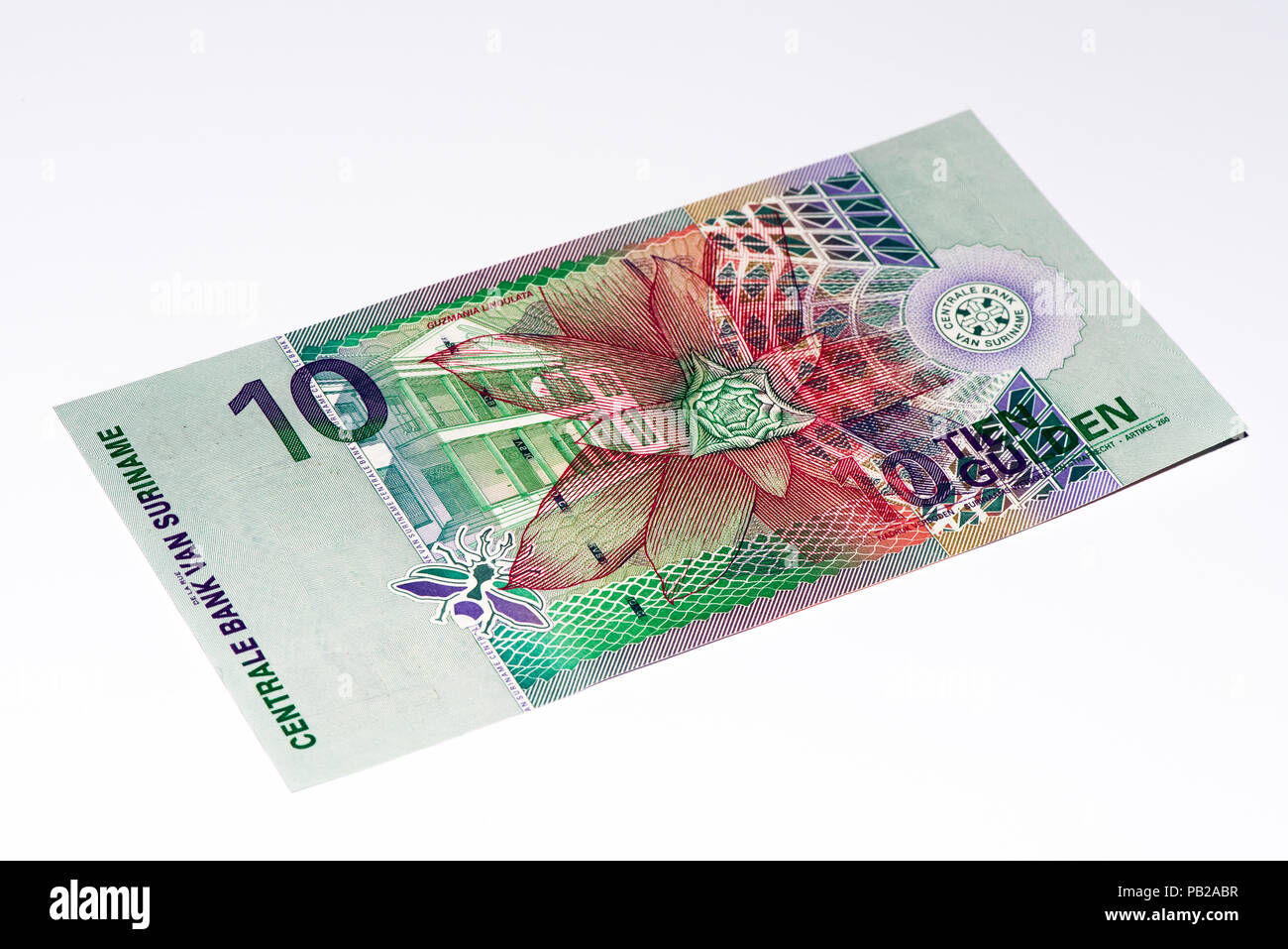 10 Surinamese gulden bank note. Gulden is the former currency of Suriname - Stock Image