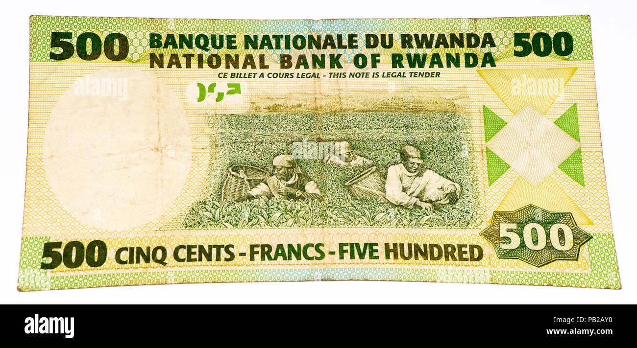 500 Rwandan francs of Rwanda. Rwandan francs is the national currency of Rwanda - Stock Image