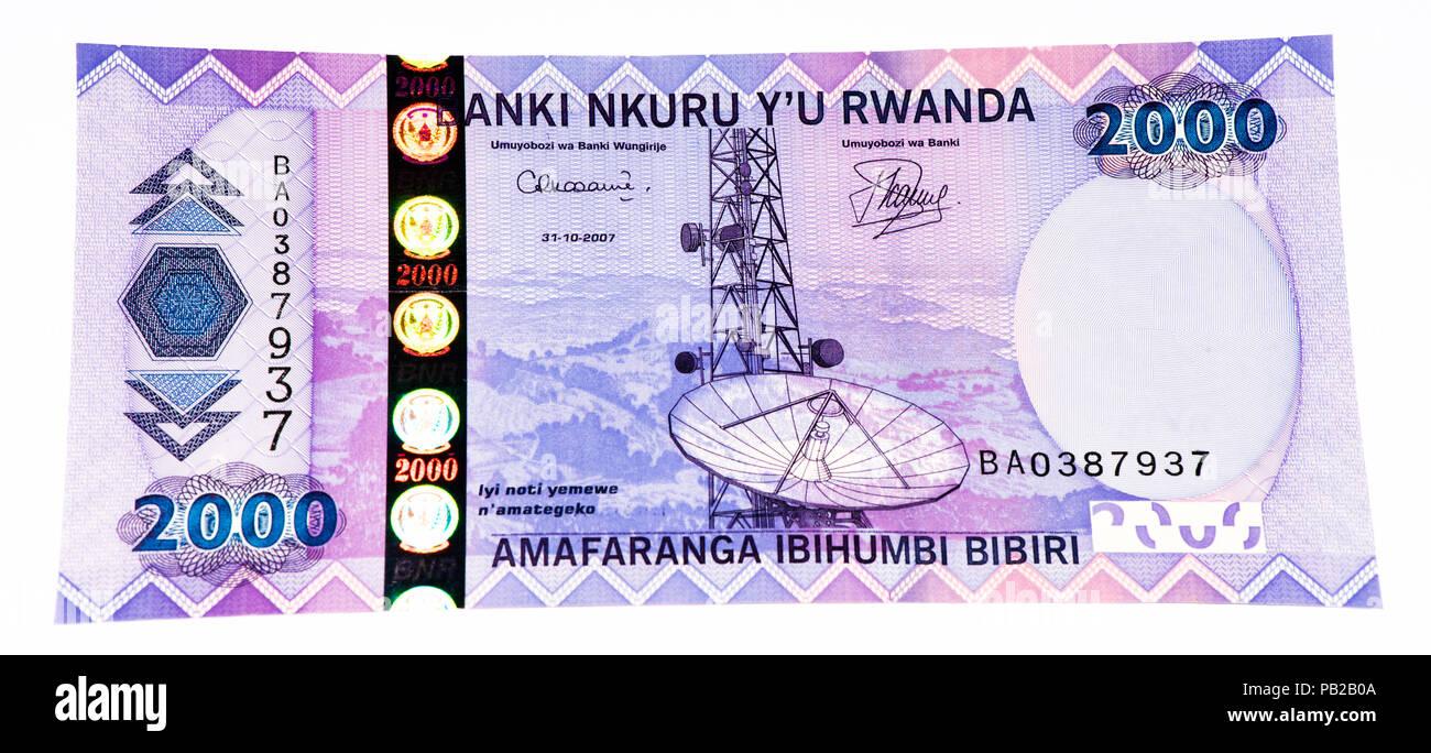 2000 Rwandan francs of Rwanda. Rwandan francs is the national currency of Rwanda - Stock Image