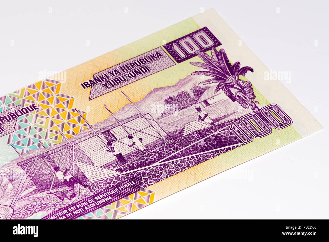 100 Burundian francs. Burundian franc is the national currency of Republic Burundi Stock Photo