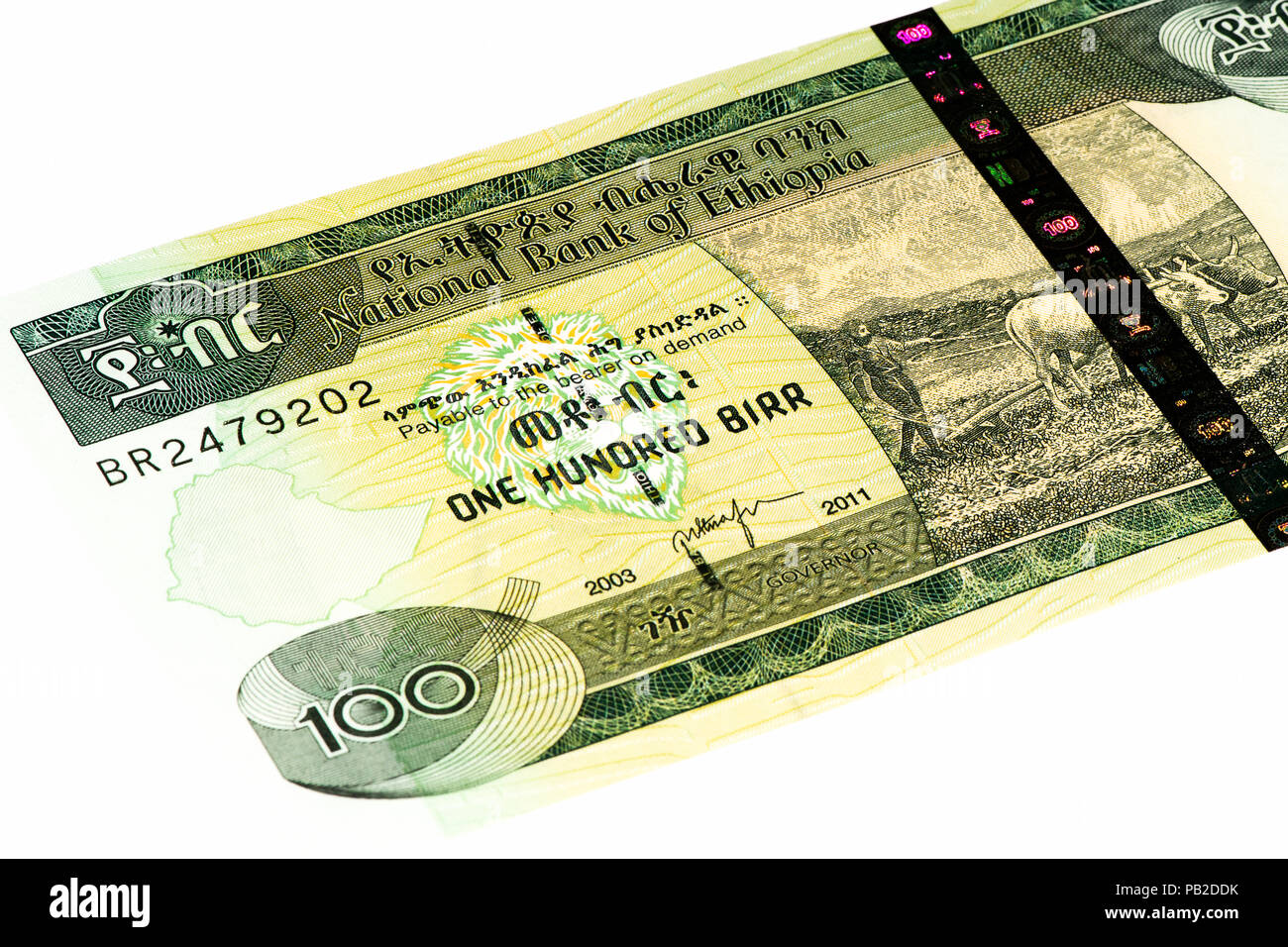 100 Ethiopian birr bank note. Birr is the national currency of Ethiopia Stock Photo