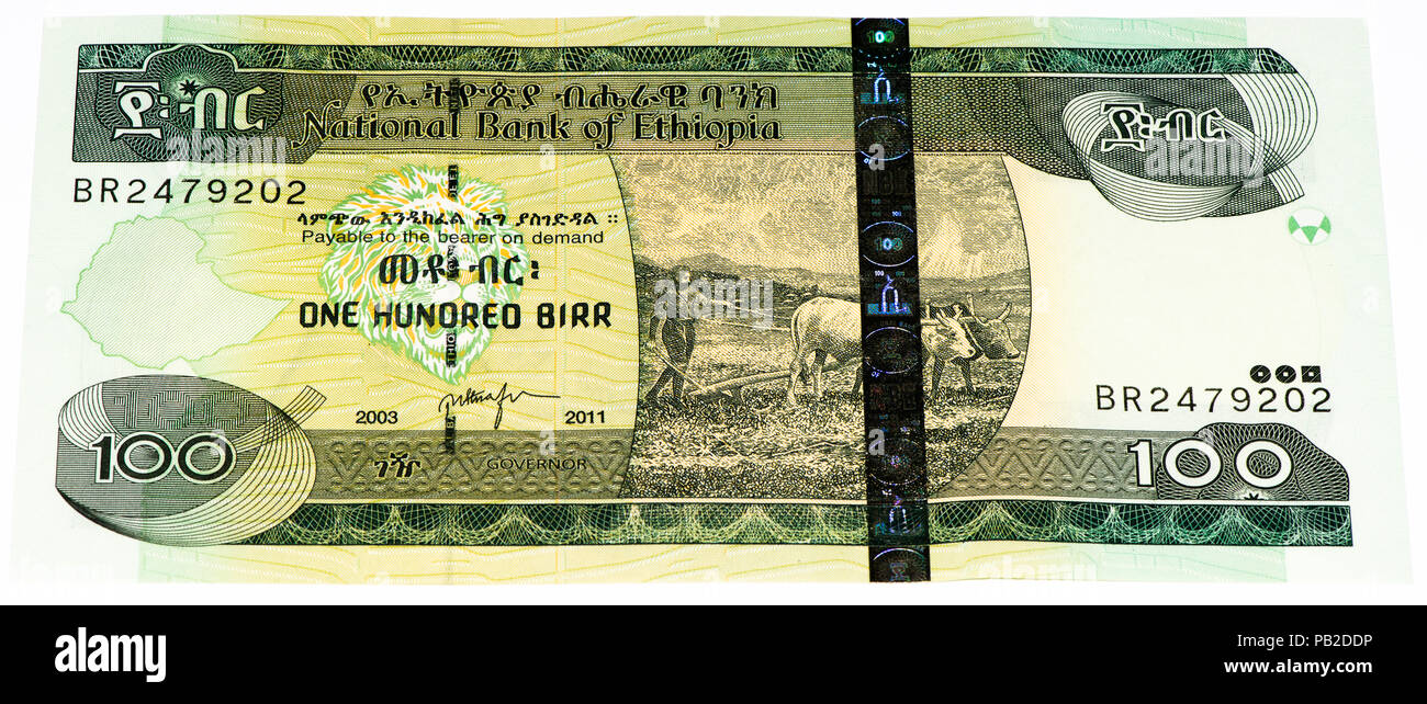 100 Ethiopian Birr Bank Note Birr Is The National Currency Of