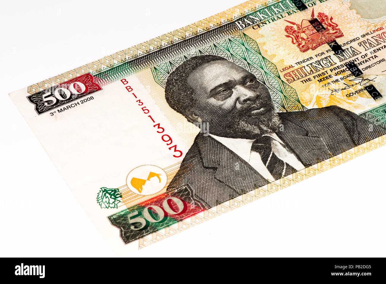 500 Kenyan shillings bank note of Kenya. Kenyan shilling is the national currency of Kenya Stock Photo