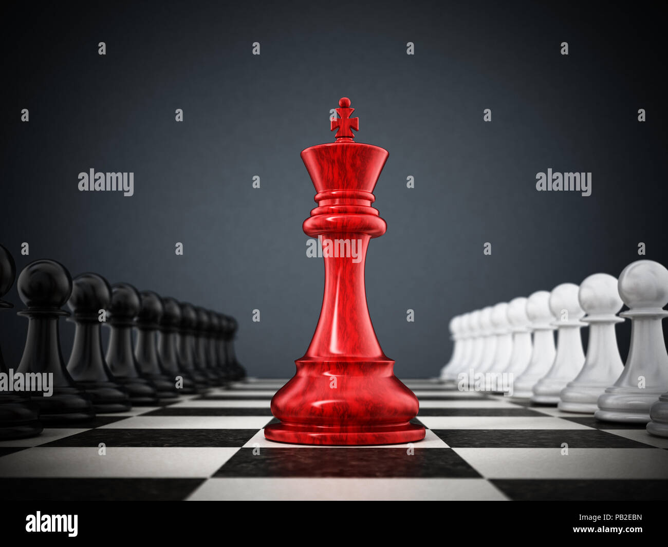 Red chess king standing between white and black pawns. 3D illustration. - Stock Image