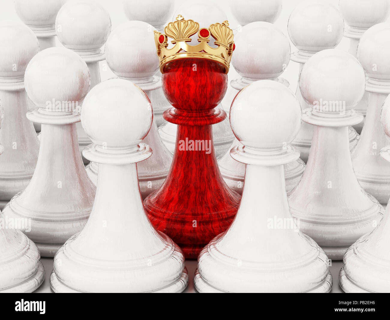 Red chess pawn with golden crown standing out among white pawns. 3D illustration. - Stock Image
