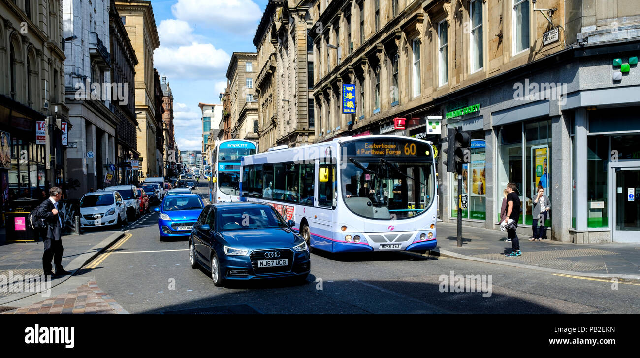Looking up Renfield Street in Glasgow, Scotland - Stock Image