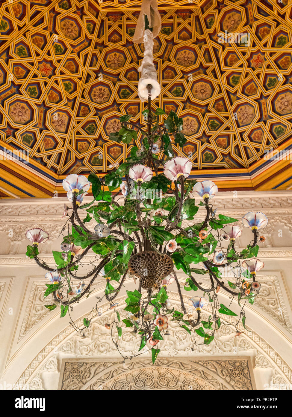 4 March 2018: Sintra, Portugal - A beautufl chandelier in a Morning Glory design in the Pena Palace. - Stock Image