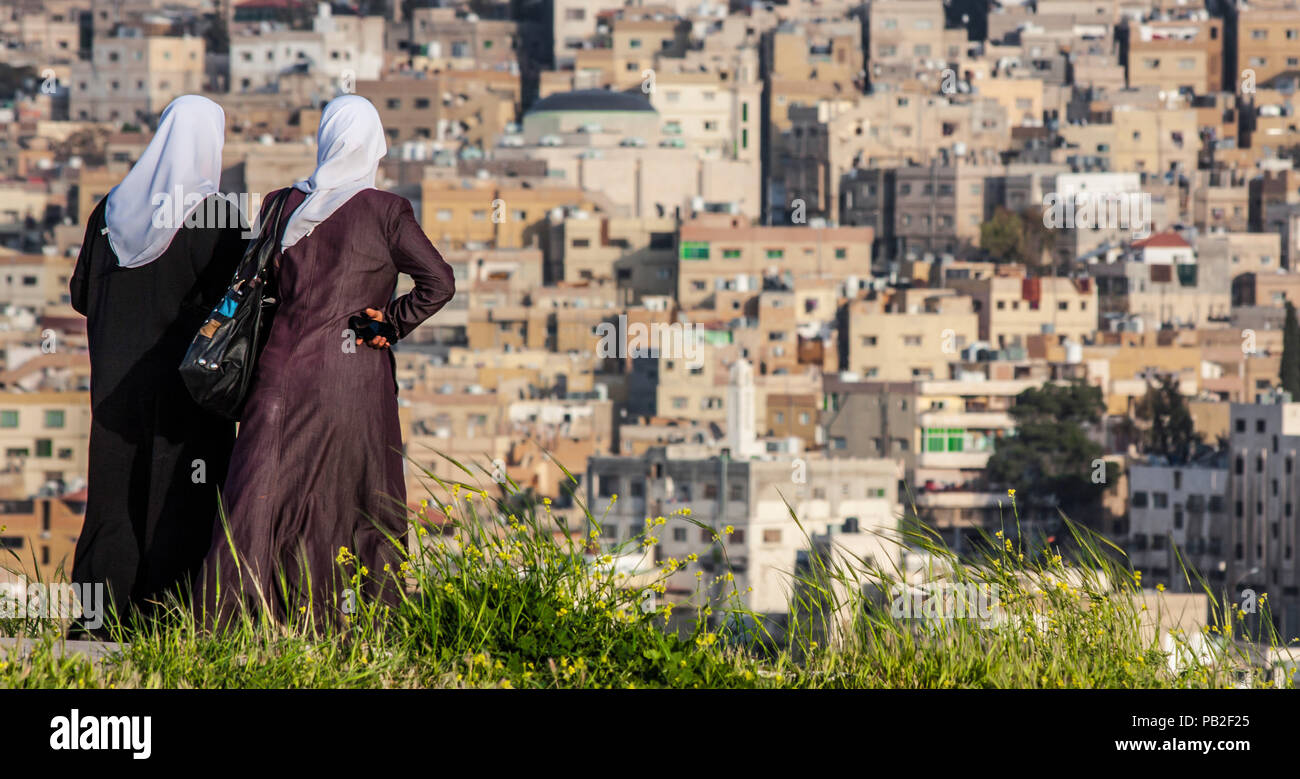 Amman, Jordan - he capital of Jordan is a city a pleasant mix of history and modernity. Here in particular the Old Town seen from the Citadel - Stock Image