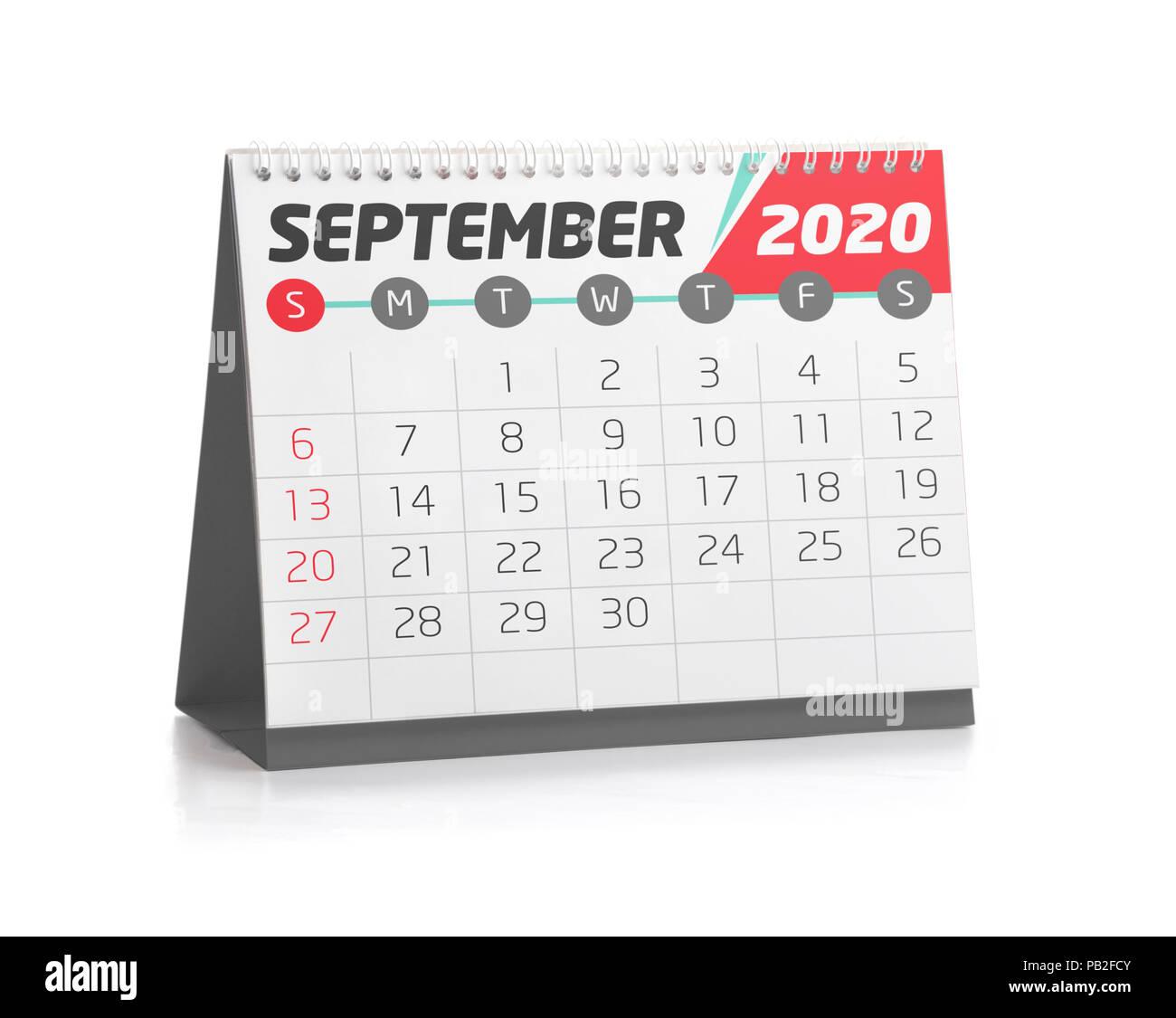 Office Calendar 2020 September White Office Calendar 2020 Isolated on White Stock Photo