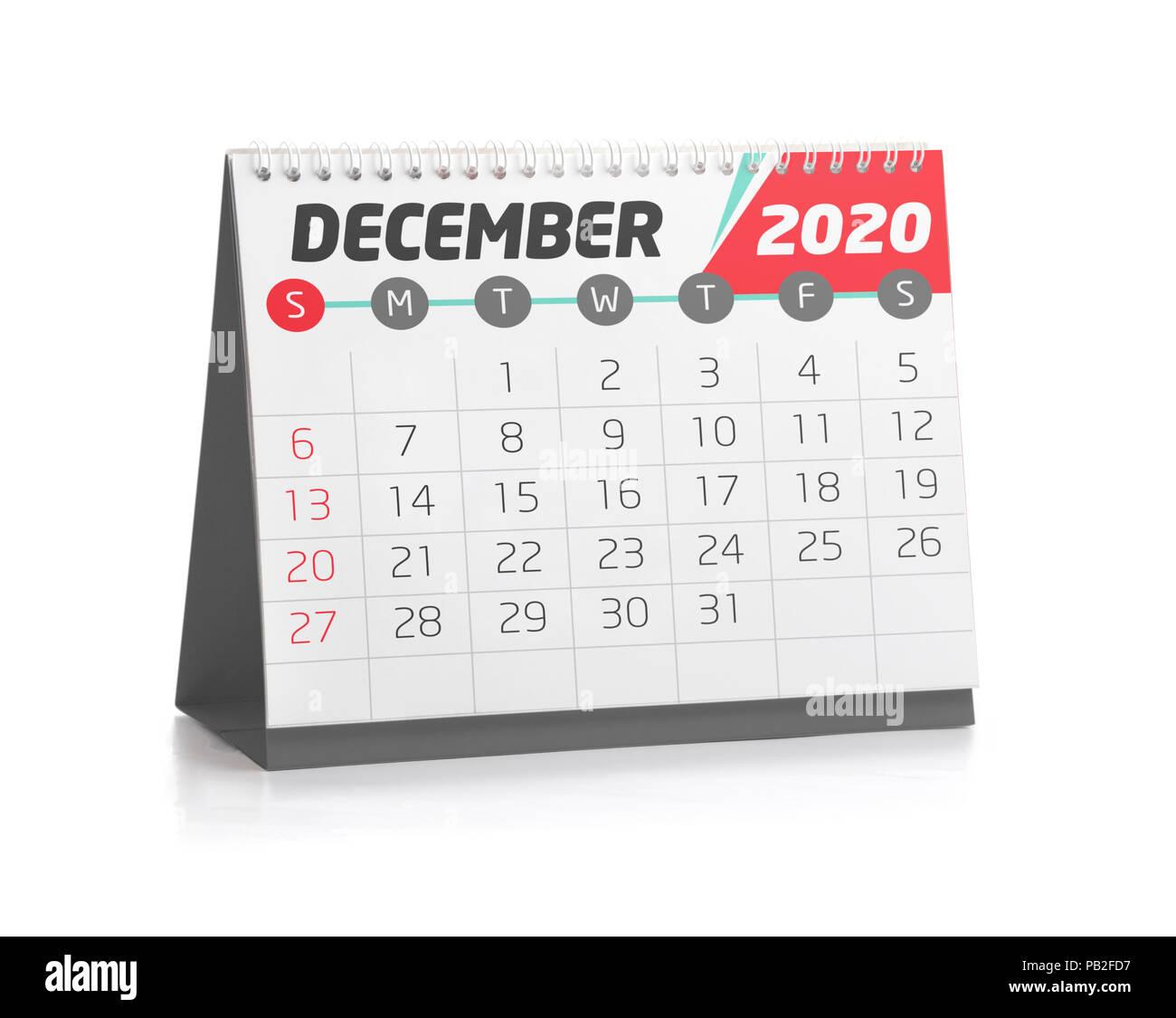 December Calendar 2020.December White Office Calendar 2020 Isolated On White Stock Photo