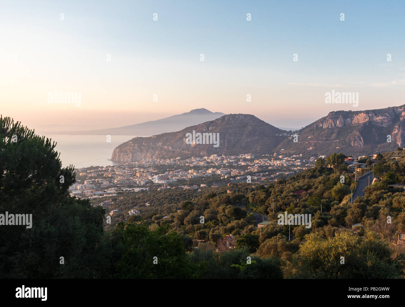 Romantic sunset in the Gulf of Naples and Vesuvius. Sorrento. Italy - Stock Image