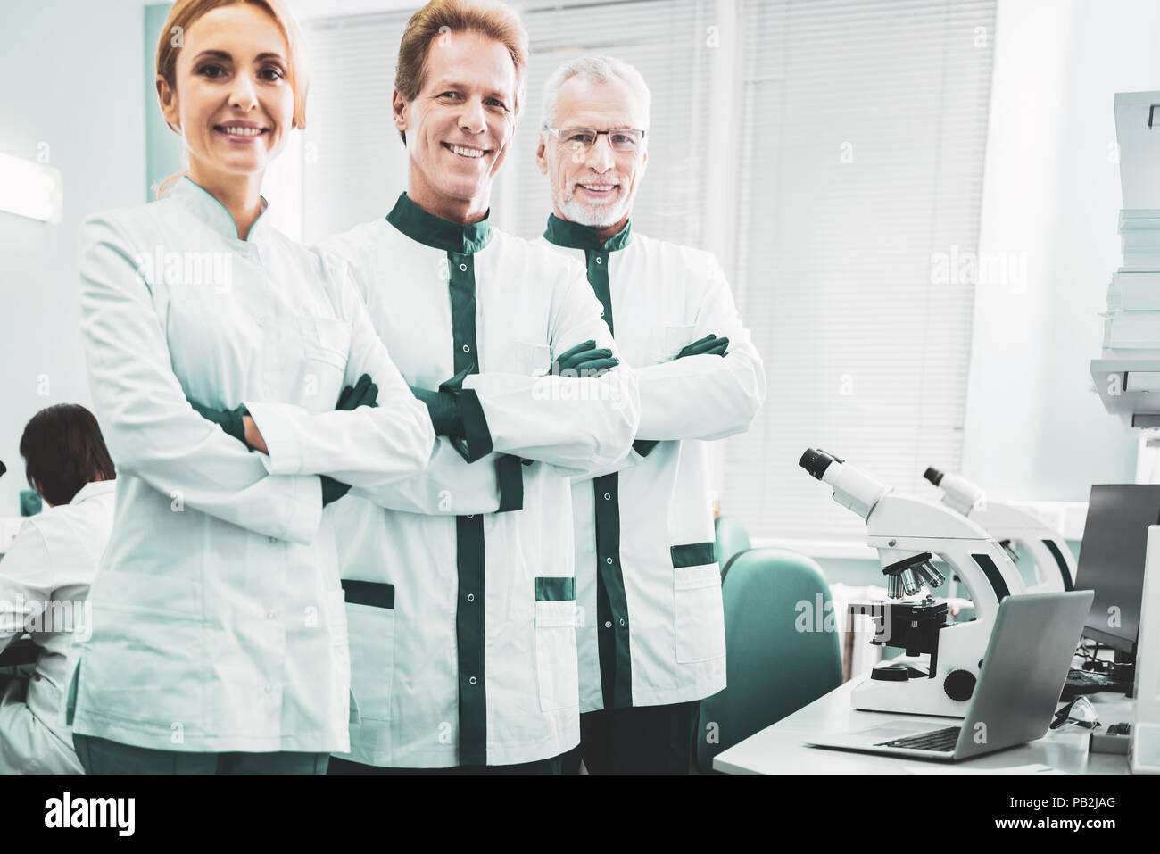 Biotechnologists feeling busy while planning new discovery - Stock Image