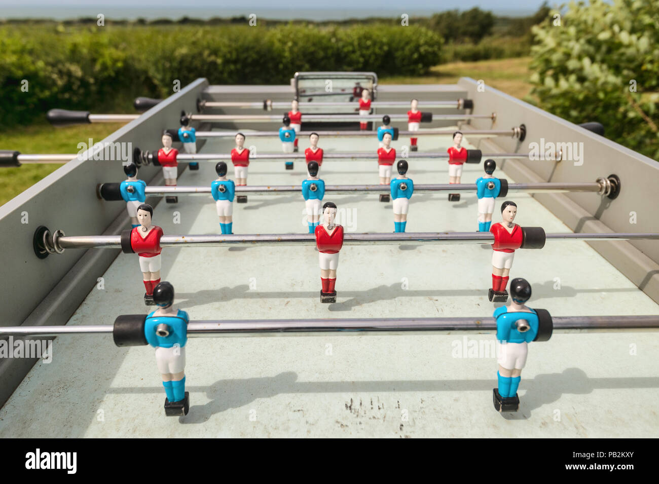Outdoor table football, baby foot or baby soccer - Stock Image