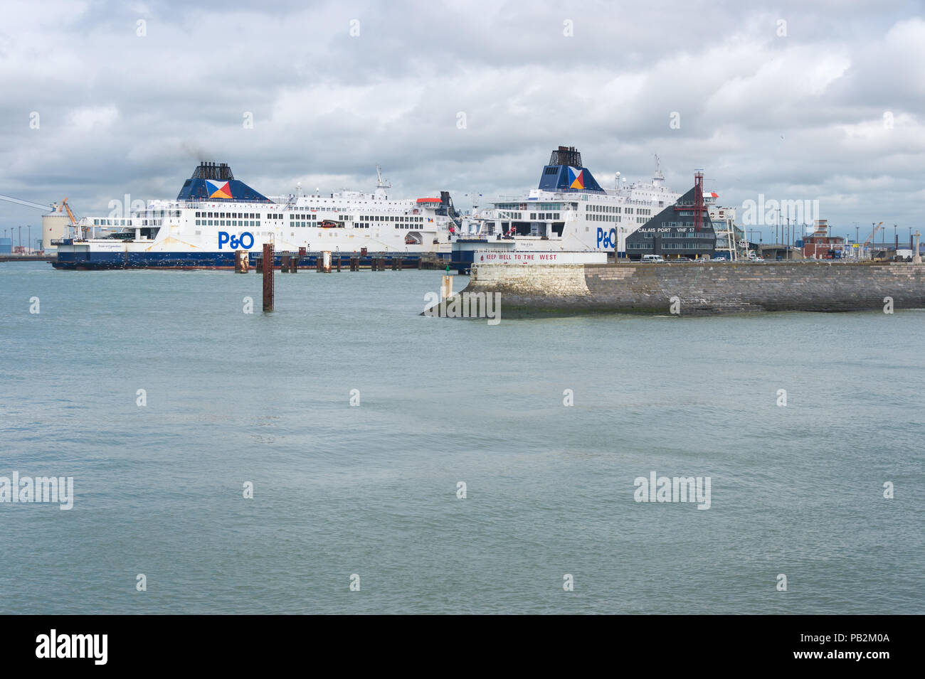 Calais, France - 19 June 2018: P&O cross Channel ferries docked in the port of Calais - Stock Image