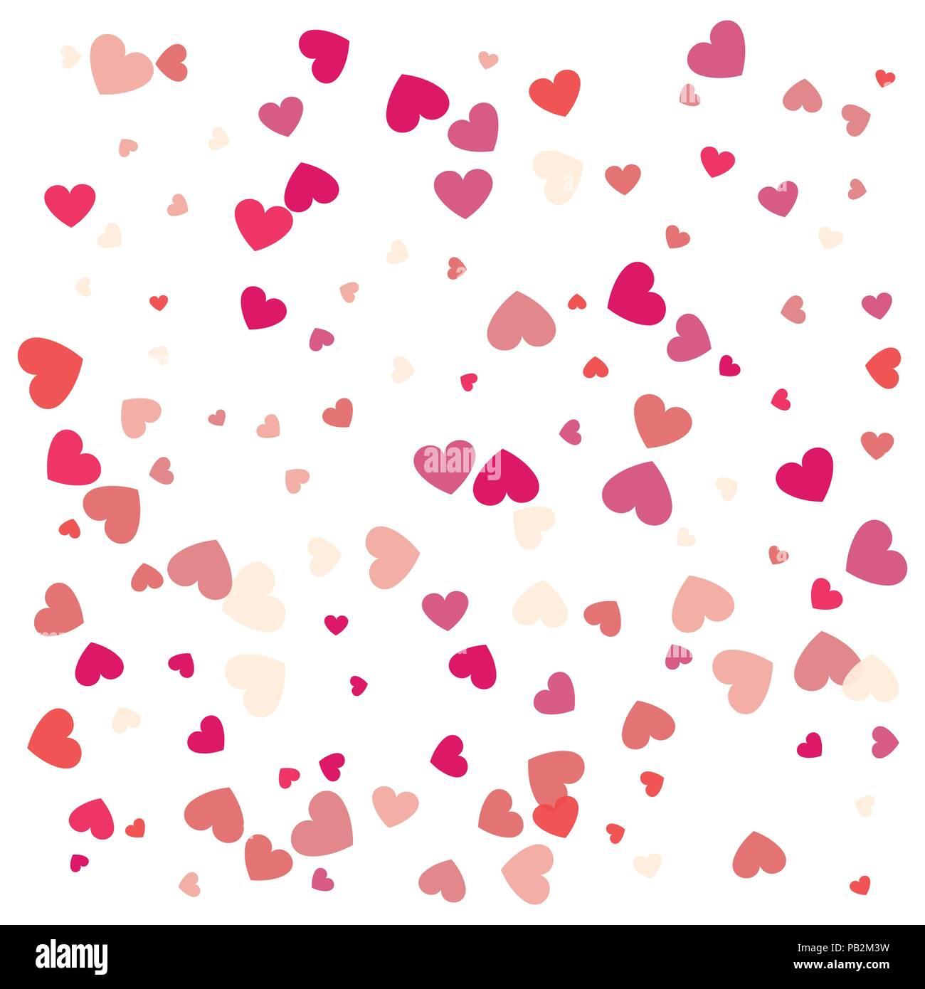 Beautiful Confetti Hearts Falling On Background Invitation Template