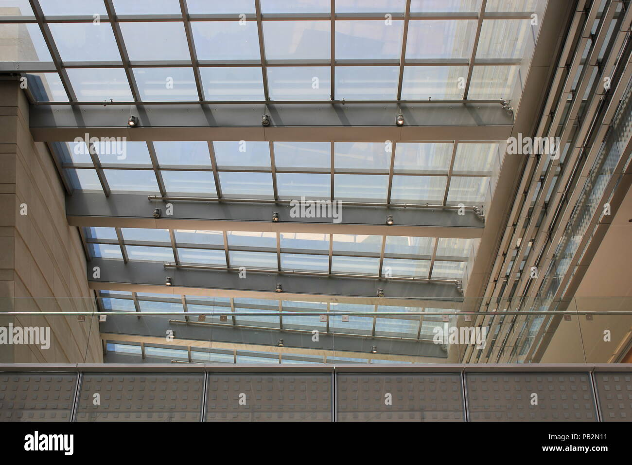 Northwestern University Bienen School of Music building interior roof skylight in the summer in Evanston, Illinois. - Stock Image