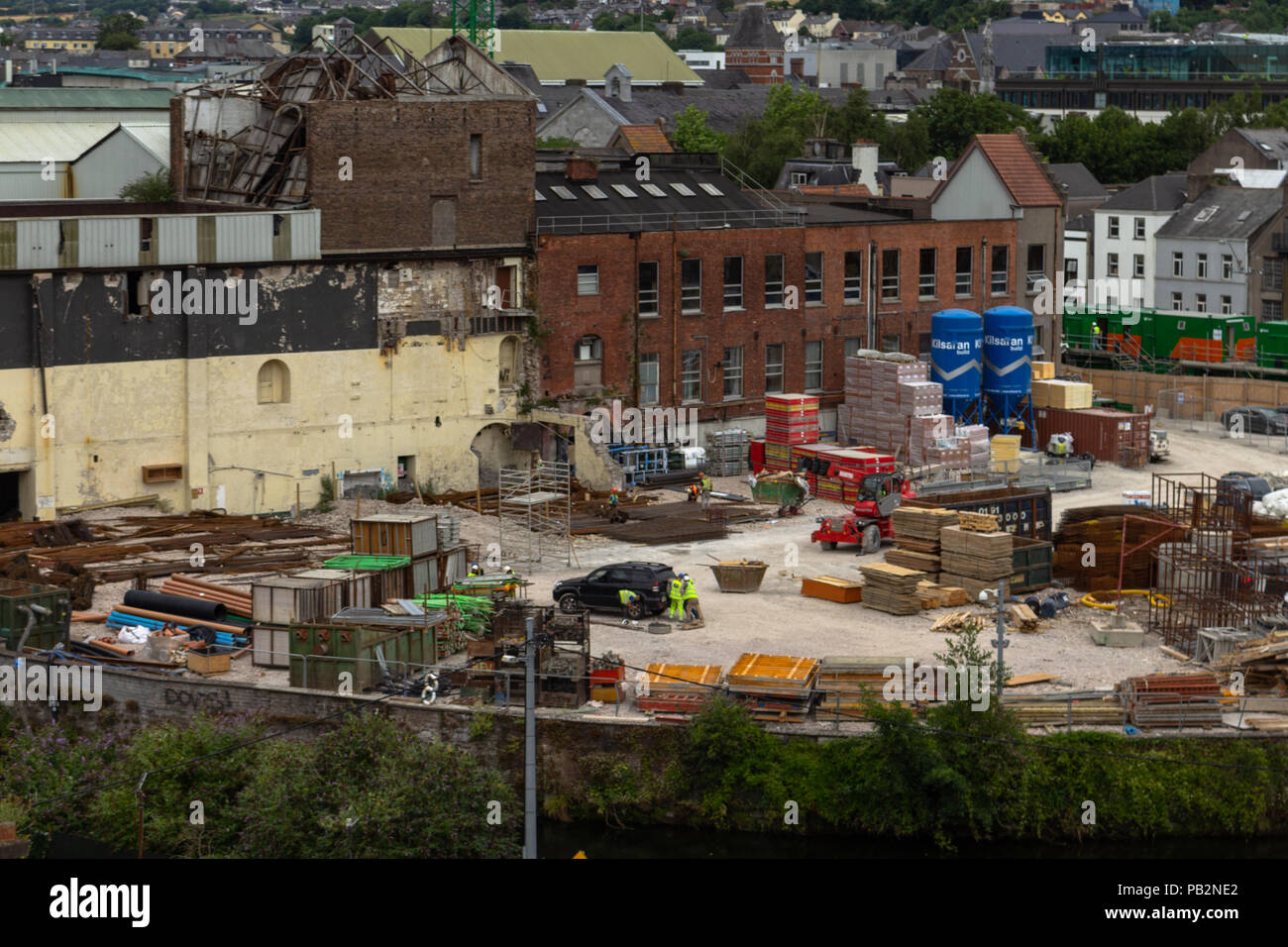 Construction on the site of the former Beamish and Crawford Brewer Site making way for the new Events Centre. - Stock Image