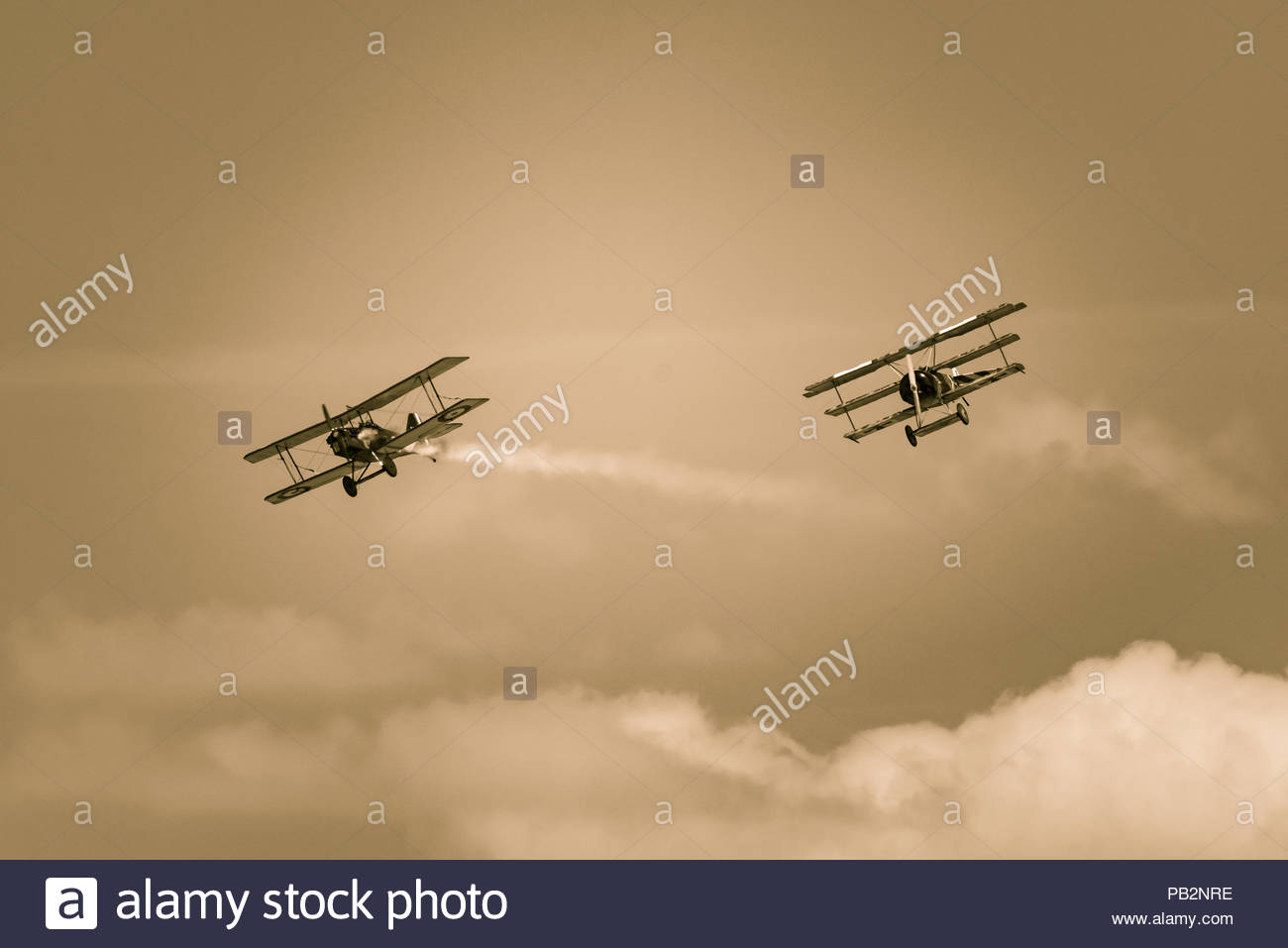An image taken at RIAT 2018 of 2 WW1 World War One planes having a classic aerial combat dog fight - Stock Image