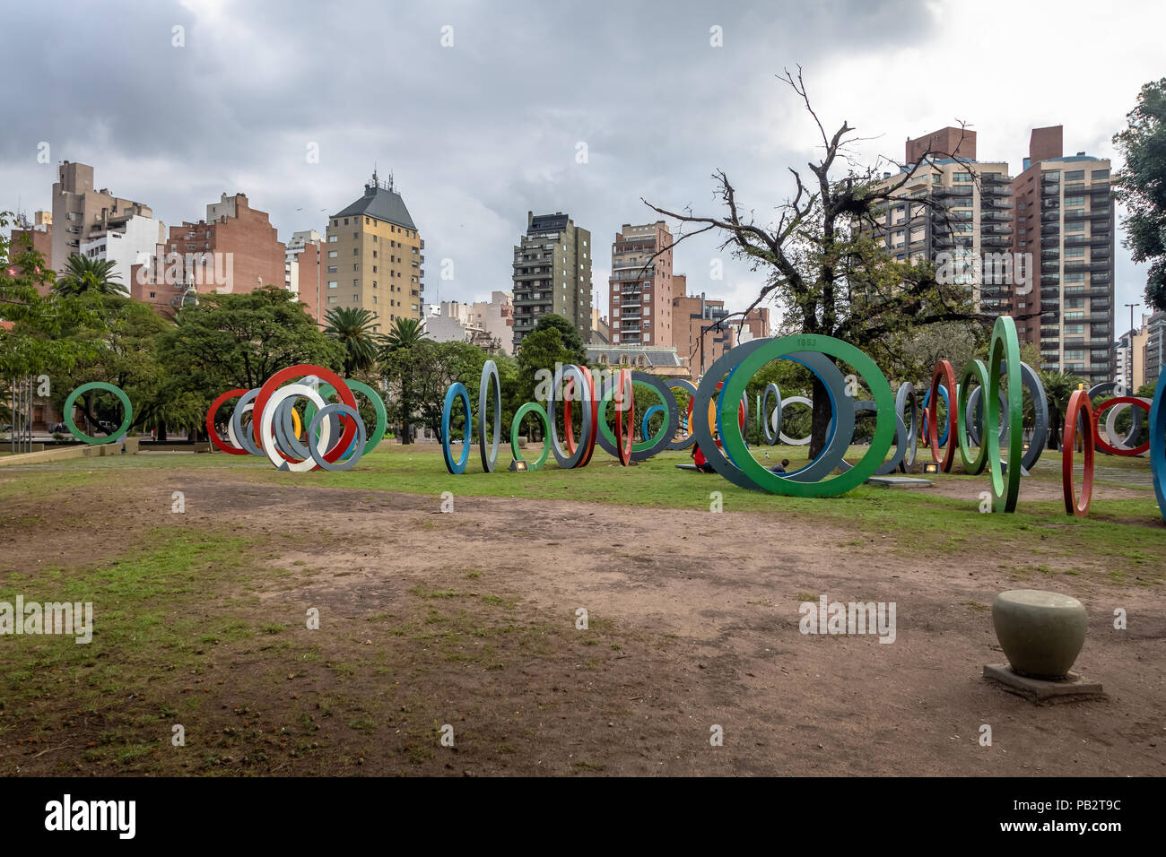 Bicentenary Square (Plaza del Bicententario) with rings telling the history of Argentina - Cordoba, Argentina Stock Photo