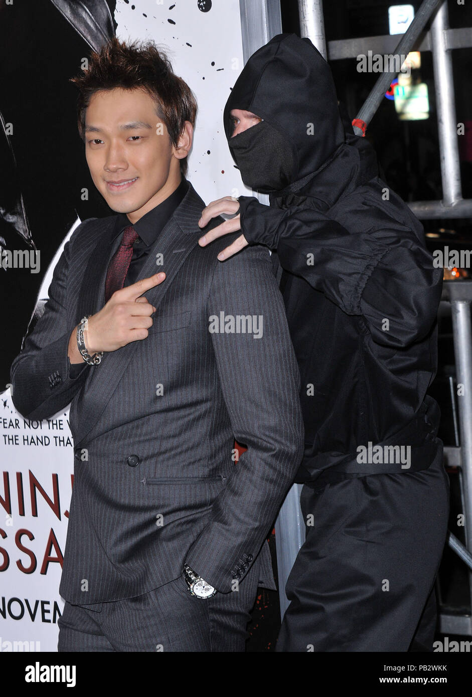 Rain Raizo   - NINJA ASSASSIN Premiere at GraumanÕs Chinese Theatre In Los Angeles.Rain Raizo_29 Red Carpet Event, Vertical, USA, Film Industry, Celebrities,  Photography, Bestof, Arts Culture and Entertainment, Topix Celebrities fashion /  Vertical, Best of, Event in Hollywood Life - California,  Red Carpet and backstage, USA, Film Industry, Celebrities,  movie celebrities, TV celebrities, Music celebrities, Photography, Bestof, Arts Culture and Entertainment,  Topix, vertical, one person,, from the years , 2006 to 2009, inquiry tsuni@Gamma-USA.com - Three Quarters - Stock Image