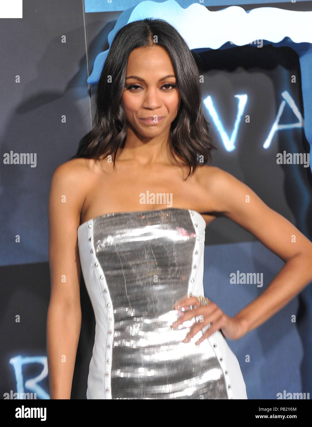Zoe Saldana _30  - Avatar Los Angeles Premiere at the Chinese Theatre In Los Angeles.Zoe Saldana _30 Red Carpet Event, Vertical, USA, Film Industry, Celebrities,  Photography, Bestof, Arts Culture and Entertainment, Topix Celebrities fashion /  Vertical, Best of, Event in Hollywood Life - California,  Red Carpet and backstage, USA, Film Industry, Celebrities,  movie celebrities, TV celebrities, Music celebrities, Photography, Bestof, Arts Culture and Entertainment,  Topix, vertical, one person,, from the years , 2006 to 2009, inquiry tsuni@Gamma-USA.com - Three Quarters - Stock Image
