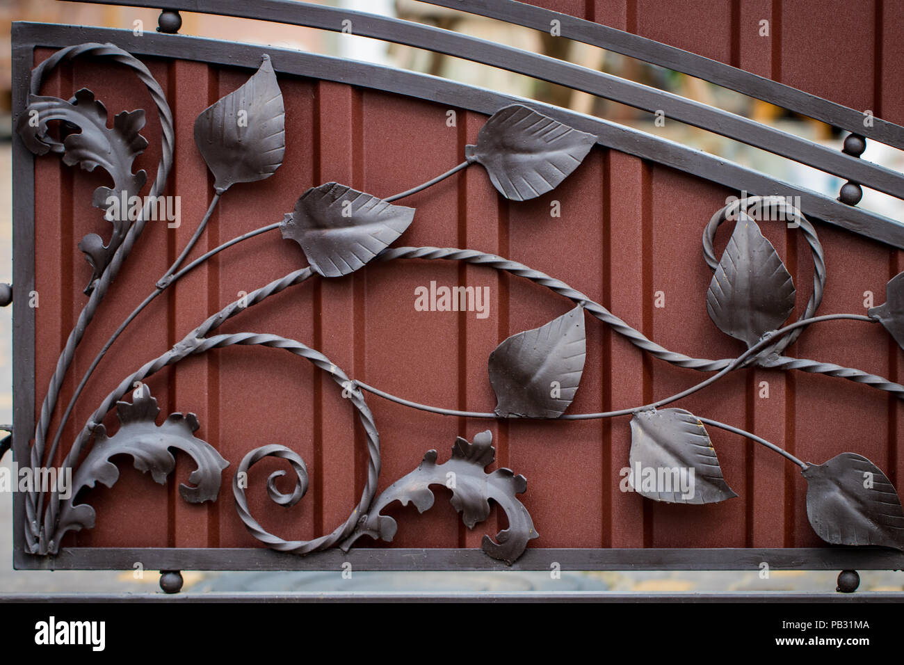 ornate wrought-iron elements of metal gate decoration. Stock Photo