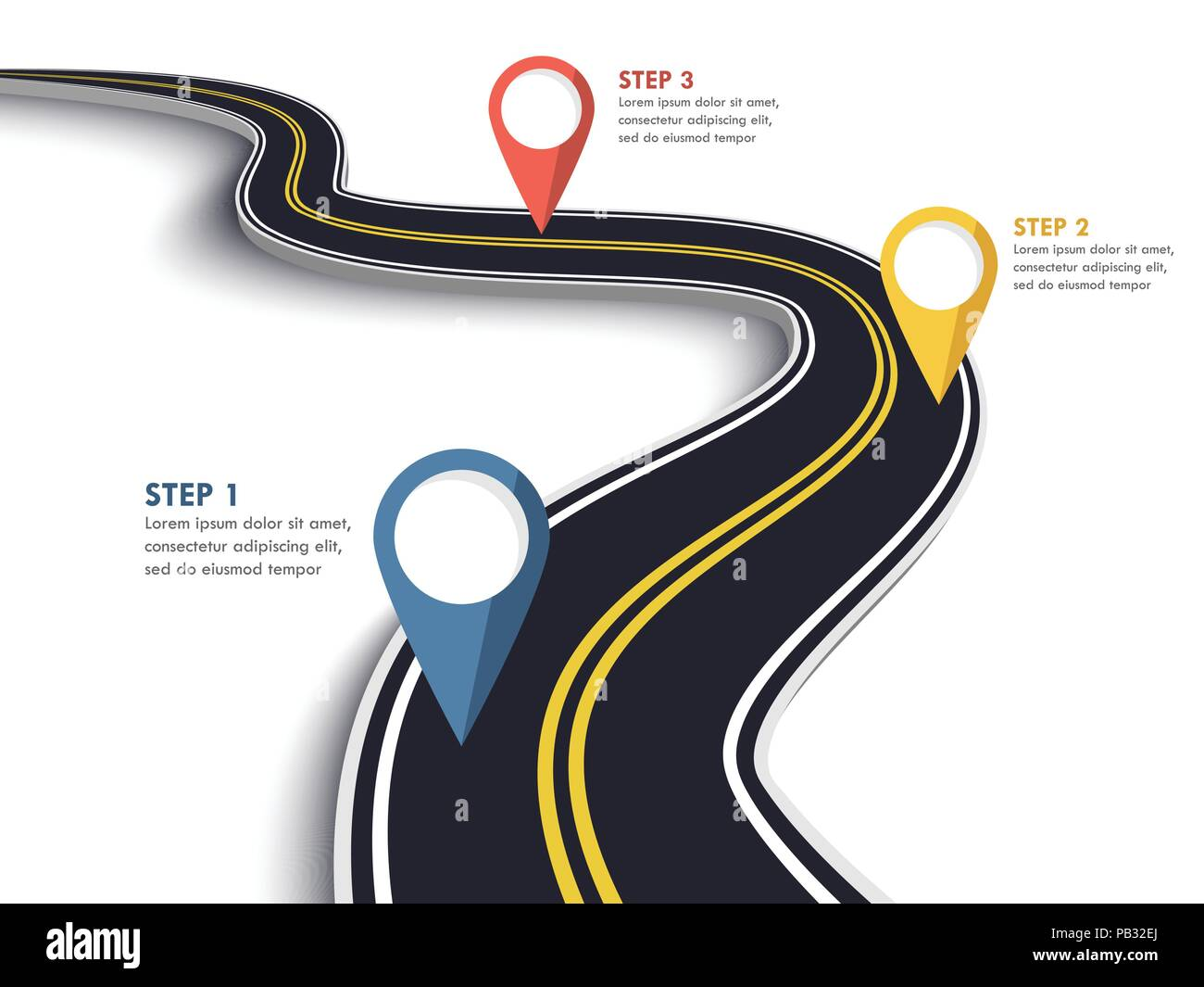 Winding Road on a White Isolated Background. Road way location infographic template with pin pointer. Vector EPS 10 - Stock Image