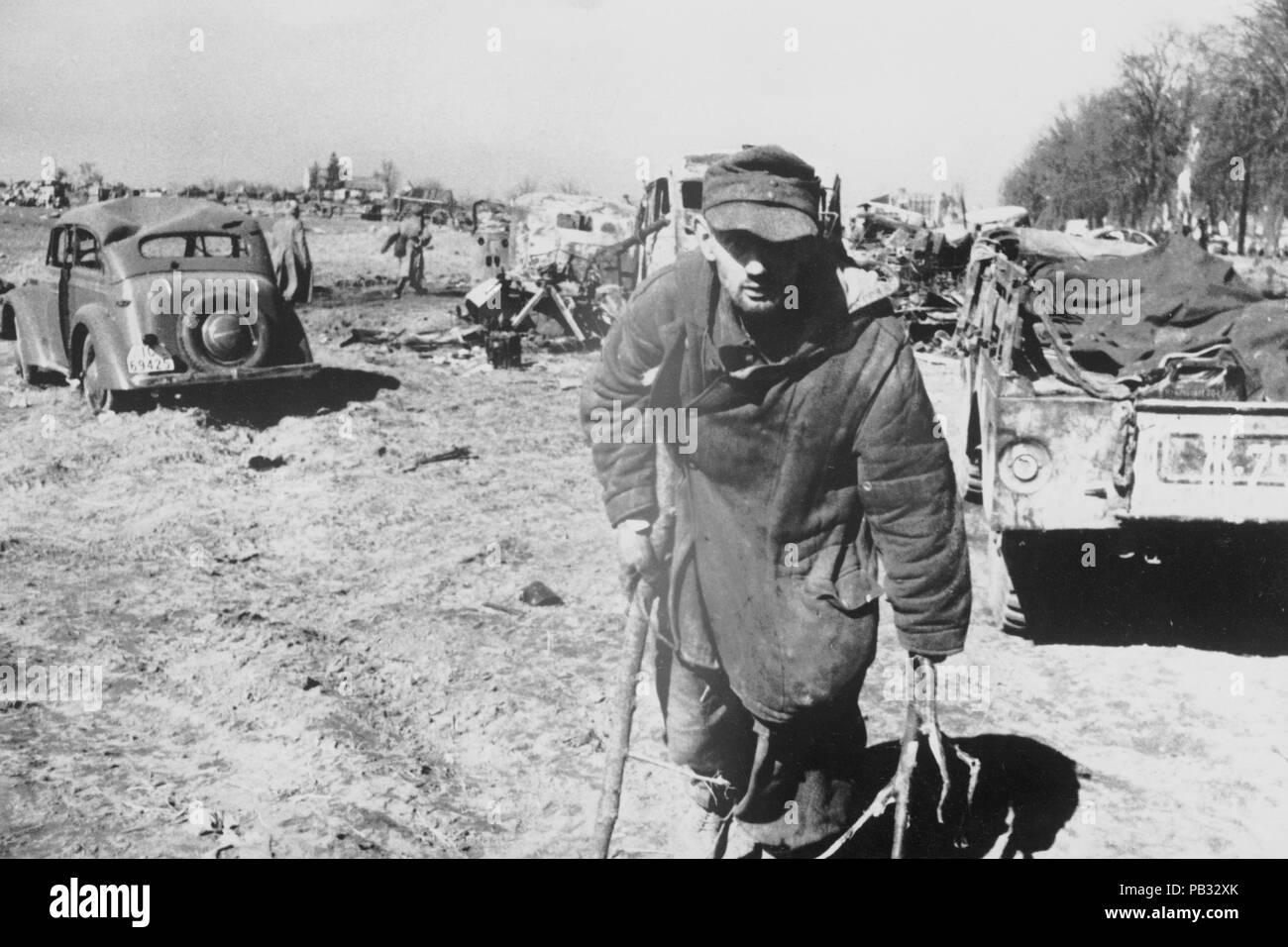 II world war, german soldier injured - Stock Image